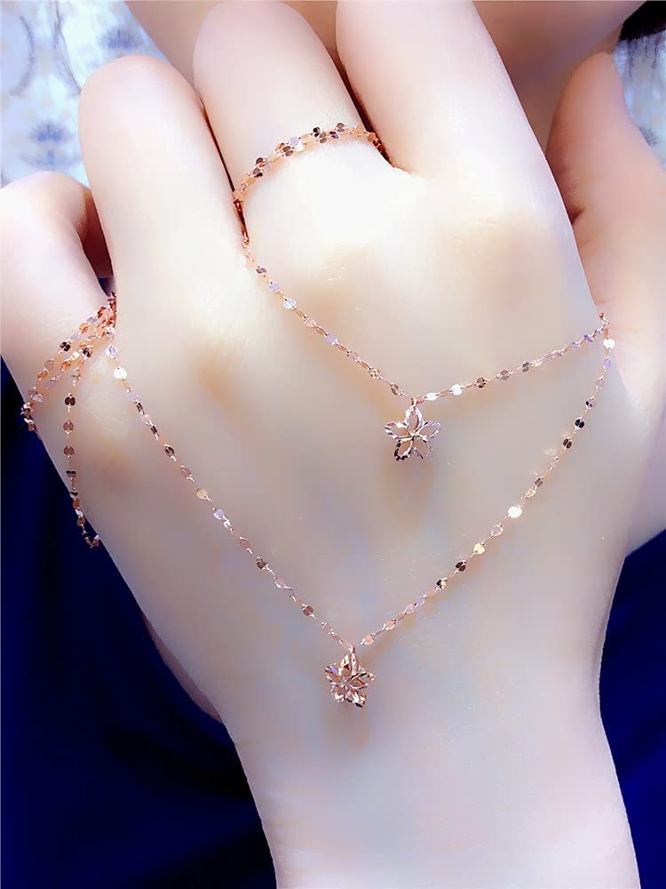Mountainsea Max 84% OFF Women's Necklace 14K Rose Cha Bone Lockeck Gold Kiss Max 72% OFF