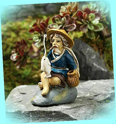 New Fishing Mud Man Bonsai Figurine Fairy Garden Miniature Dollhouse Magic Scene Supplies Accessories Dia-#0255N