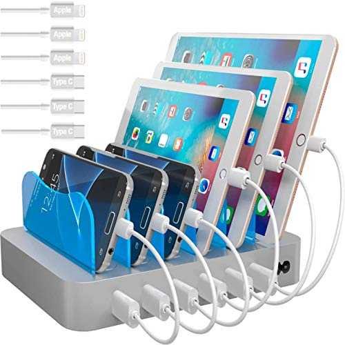 Hercules Tuff Multi Device Charging Station - Cables Included are Compatible with lphone 5/6/7/8/X Samsung S8/S9, Note 6/7/8/ lPad 3/4/mini/mini2