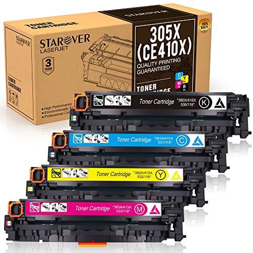 STAROVER 4x Kompatible Tonerkartuschen Für HP 305A (CE410A-CE413A),305X (CE410X-CE413X) für HP Laserjet Pro color MFP M351 M351a M375 M375nw MFP M451dn M451 M451dw M451nw M475 M475dn M475dw