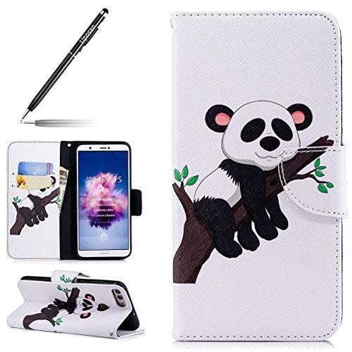 Uposao Kompatibel mit Handyhülle Huawei P Smart Handy Tasche Bunt Retro 3D Muster Brieftasche Ledertasche Klapphülle Klappbar Lederhülle mit Kartenfach Leder Flip Wallet Cover,Panda Baum