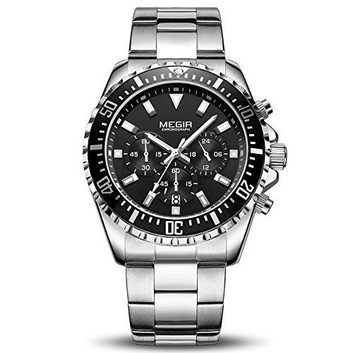 MEGIR Men's Business Work Analogue Quartz Wrist Watch with Stainless Steel Band Calendar Stopwatch Luminous for Collection (Silver/Black)