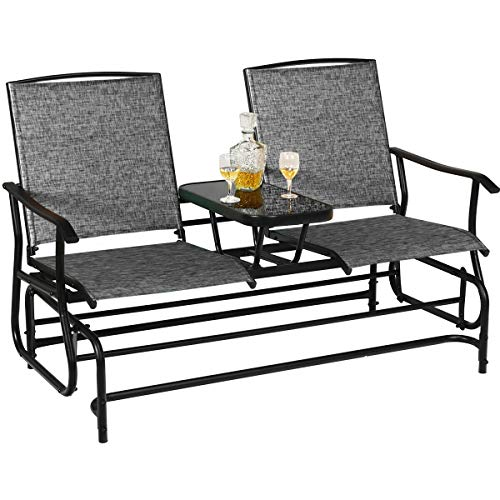 Grey Patio Swing Glider Bench for 2 Persons Rocking Chair with Elevated Table for Porch, Backyard, Metal Frame Garden Loveseat, Outdoor Furniture