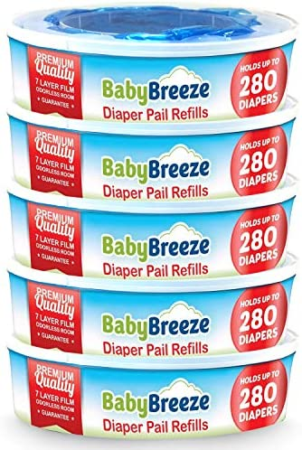 Diaper Pail Refill Bags for Playtex Diaper Genie 1400 Count 5 Sets of 1 Pack by BabyBreeze product image