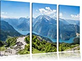 Blick vom Berg über dem Königssee in Bayern 3-Teiler