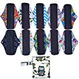 10 Pieces 10 Inch Regular Flow Charcoal Bamboo Mama Cloth/Menstrual Pads/Reusable Sanitary Pads+1 Wet Bag