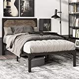 SHA CERLIN Twin Size Bed Frame with Industrial Wooden Rivet Headboard/Splash Platform Bed Frame with 13 Strong Metal Slats Support for Kid/Noise Free/Underbed Storage/Rustic Brown