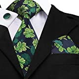 URNOFHW Uomini Cravatta in Seta Verde Prato Legami Floreale Cravatta Fiore all'occhiello del Fazzoletto Gemelli Wedding Set Foulard for Groom 8,5 Cm (Color : SN 1432)