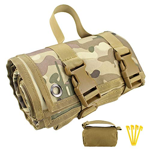 Depring Non-Padded Shooting Mat Molle Roll-up Shooter Range Pad with Gun Rest Sand Bag (Multicam)