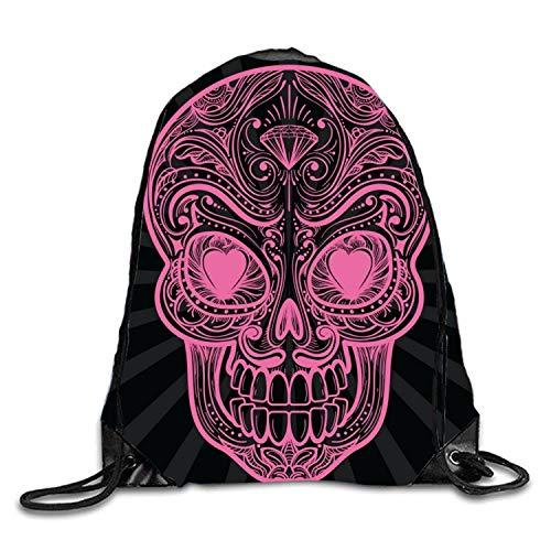 Lawenp Pink Skeleton Sackpack Mochila con cordón Mochila Impermeable Gymsack Daypack para Hombres Mujeres