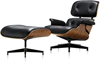 Mid Century Modern Lounge Chair with Ottoman,Mid Century Recliner Chair - High Grade Leather - Walnut Solid Wood Lounge Chair Replica (Black Walnut - Upgraded2)
