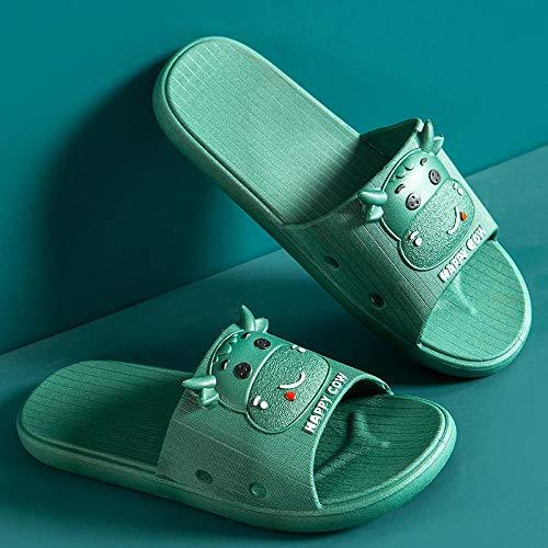 HUSHUI Suela de Espuma Suave Zapatos para Piscinas,Zapatillas de baño Antideslizantes, Sandalias de Suela Blanda para el hogar Interior Sandals-Green_36-37,Zapatillas de Ducha para Mujeres