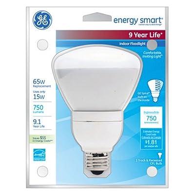 GE Lighting 47478 Energy Smart CFL 15-Watt (65-watt replacement) 750-Lumen R30 Floodlight Bulb with Medium Base, 1-Pack