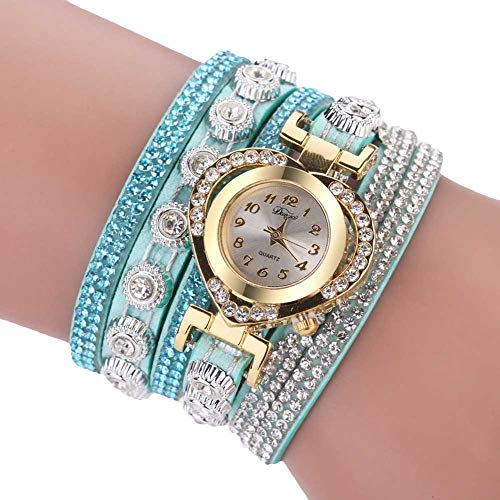 quanjucheer Delicate Women Multi-Layered Band Rhinestone Heart Dial Analog Quartz Wrist Watch - Light Blue