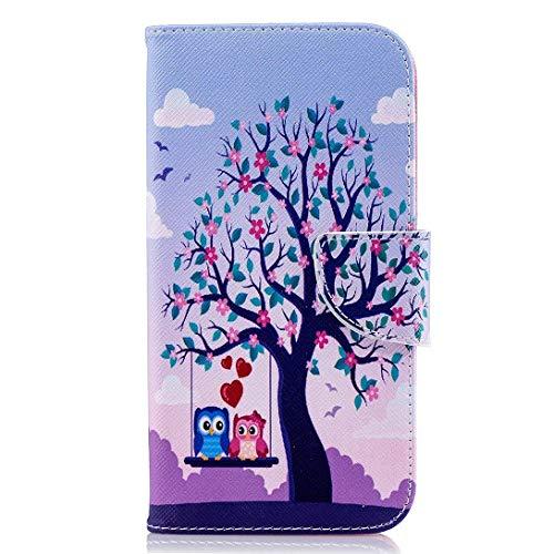 Uposao Kompatibel mit Handyhülle Huawei P20 Handy Schutzhülle Brieftasche Klapphülle Lederhülle Flip Case Cover Tasche Bookstyle Handytasche Kartenfach,Baum Blumen Eulen