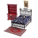 non-brand 4 Piezas Muebles de Muñecas Dormitorio Miniatura Victoriana a Escala 1:12