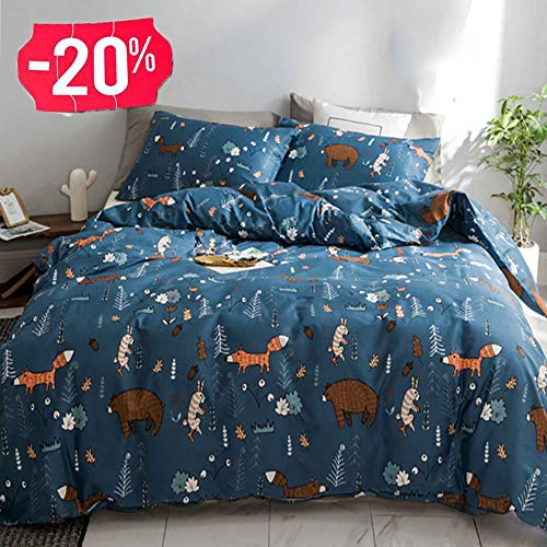 CLOTHKNOW Kids Duvet Cover Sets Twin Cotton Boys Child Bedding Sets Navy Blue Bear Fox Rabbit Twin Bedding Woodland Theme 3Pcs Bedding Cover Sets with Zipper Closure 2 Pillowcases