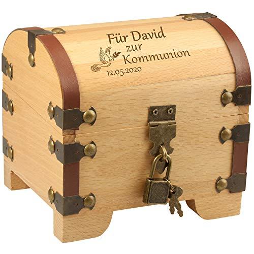 Geschenke 24 Schatztruhe – Kommunion personalisiert mit Name und Datum - Geldgeschenk zur Kommunion/Schatzkiste aus Holz für Mädchen und Jungen