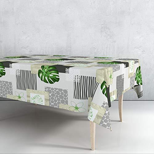 Mantel Hule Motivos Verde Venta por Metros Ancho 140cms Impermeable