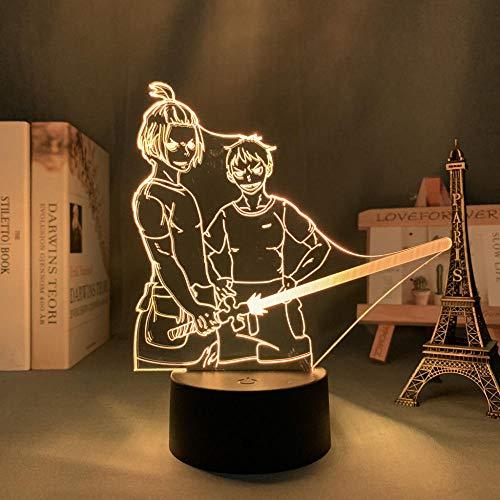ZMSY - Lámpara 3D de noche con diseño de anime, para dormitorio, decoración, cumpleaños, manga, aparato de fuego, luz LED