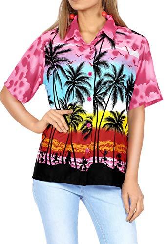 LA LEELA delle Donne Camicia Hawaiana Spiaggia Camicetta Maniche Corte Albero Palma Costumi Bagno Stampa Partito M-IT Dimensione- 48-50 Rosa_W964