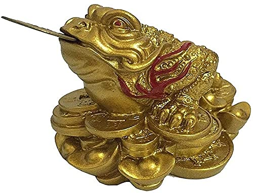 JJDSN Estatuas de Resina de Sapo de Tres Patas Doradas, Estatua de Animal de Rana de Moneda de Buda Chino, esculturas, Figuras, Regalos de la Suerte de Feng Shui, decoracin del hogar