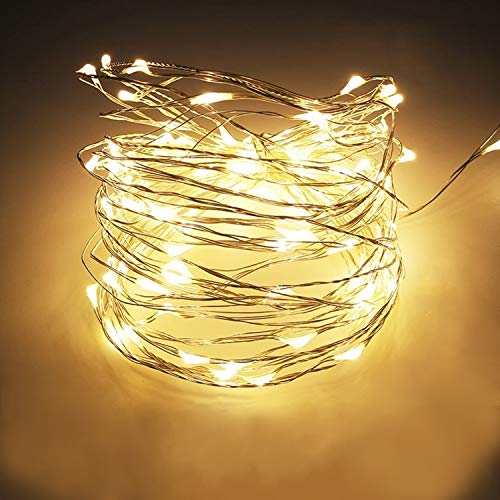 """Mochatopia WarmWeiß LED Lichterkette Dimmbar\""""Silber Draht\"""", 10M 100 LEDs Star Lichterketten Wasserdichte IPX6 mit 5V Nezteil USB Powered für Außen, Zimmer, Innen, Weihnachten"""