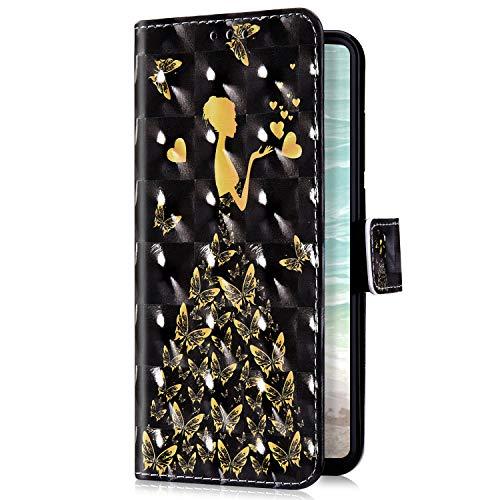 Uposao Kompatibel mit Samsung Galaxy M20 Handyhülle Bling Glitzer Bunt Muster Leder Tasche Schutzhülle Brieftasche Handytasche Wallet Lederhülle Klapphülle Flip Case,Schmetterling Fee