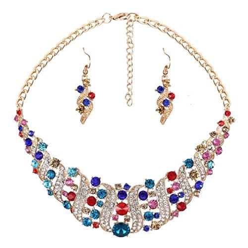 YAZILIND El Collar cristalino Mujeres Rhinestone y del Pendiente de la Declaraci¨®n Gargantilla Sistema de la joyer¨ªa del Collar