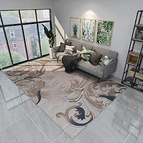 Kunsen La Alfombra Antideslizante Duradera Suelo Alfombra Alfombra del sofá de la Sala de Estar del patrón Floral del Doodle Abstracto Azul marrón Diseño Moderno La Alfombra 120 * 170cm