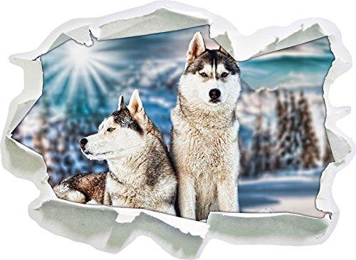 Stil.Zeit Zwei Wilde Huskies, Papier 3D-Wandsticker Format: 92x67 cm Wanddekoration 3D-Wandaufkleber Wandtattoo