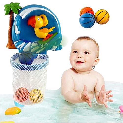 liberty imports baby bath toys Liberty Imports Shoot and Splash Basketball Hoop Bathtub Shooting Game - Bath Toy Playset for Kids and Toddlers - 3 Balls Included