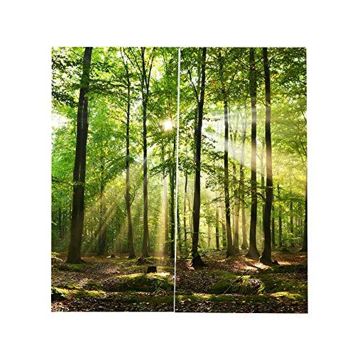 Cafopgrill Wälder Eyelet Vorhang, Sonnenlicht Printing Shading Vorhänge Balkon Vorhänge Schlafzimmer Salon Fenster (150 (Breite) * 166 cm (Höhe))