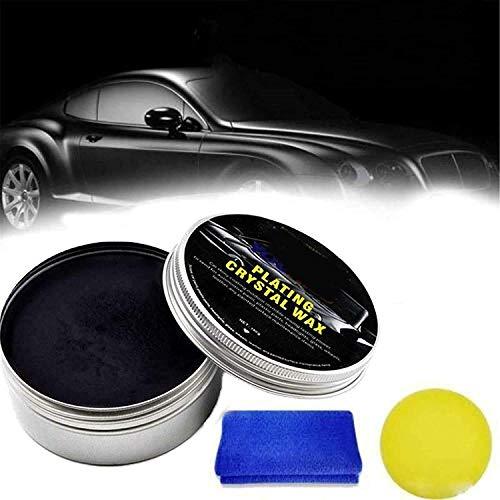 Ensemble de placage de cristal de cire de voiture Dur brillant Carnauba Wax Paint Care Revêtement de soin, réparation rapide des rayures de voiture, avec éponge d'épilation et serviette noire