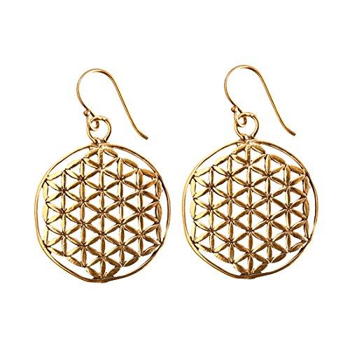 81stgeneration Women's Brass Gold Tone Flower Seed of Life Sacred Geometry Earrings