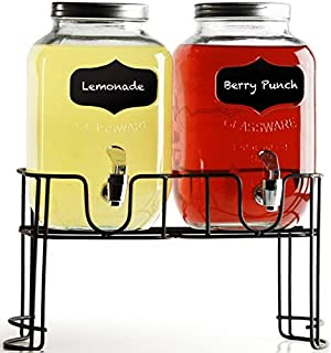 Circleware 92006 Beverage Dispensers with Metal Stand, Fun Sun Tea Party Entertainment Glassware Glass Water Pitcher for Iced Cold Punch Drinks, 1 Gallon, Double Yorkshire Chalkboard