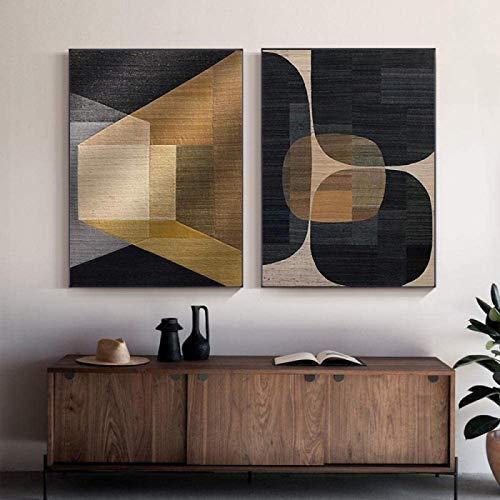 Pintura Moderna 2 Piezas 50x 70cm sin Marco Colores Abstractos Impresión de Lienzo Pintura Marrón Póster geométrico Morden Wall Art Pictures Sala de Estar Decoración de Oficina