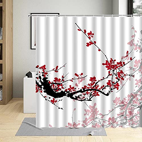XUSANSHI Wasserdicht Duschvorhang Pfirsichblüte nach chinesischer ArtAntischimmel Polyester Duschvorhänge Waschbar mit 12 Plastik Hochwertiges Duschvorhangringe für Badewanne & Bathroom 180x200cm