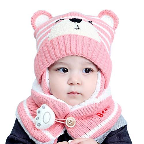Sombrero de invierno cálido con capucha de punto para niño, gorro de punto para invierno, sombrero de invierno con capucha para bebé, niños y niñas