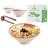 Ceramic Japanese Ramen Noodle Soup Bowl, 2 Sets (6 Piece) 60 Ounce, with Matching Spoon and Chopsticks for Udon Soba Pho Asian Noodles, Blue