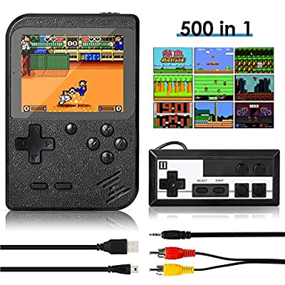 Handheld Game Console, Retro Mini Game Player with 500 Classic FC Games, 3.0 Inch Screen 800mAh Rechargeable Battery Portable Game Console Support TV Connection & Two Players for Kids Adults from Batlofty