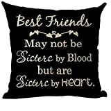 lplpol Decorative Throw Pillow Cover Word Art Quote Best Friends May Not Be Sisters by Blood But Heart Inspirational Cotton Linen Pillow Case Cushion Cover for Home Couch Sofa Bedroom Decoration