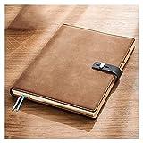 QWEA Cuaderno de diario grande de cuero, oficina de negocios, trabajo diario, cuaderno de estudiantes, cuaderno de notas de papel grueso grueso (B5) (Color: Marrón)