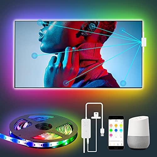 Iluminación de fondo LED para TV, tira LED RGB 3M, LEOEU WiFi TV con sensor de color, control mediante aplicación, compatible con Alexa Google Assistant, luz de fondo para televisores de 46 a 60