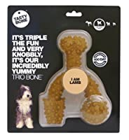 DELICIOUSLY DURABLE - Its triple the fun and very knobbly - It's our incredibly yummy Trio Bone. Like all of our nylon chews, this TastyBone product has been tested on the most vigorous of chewers FOR LARGE DOG BREEDS - All breeds of dog are differen...