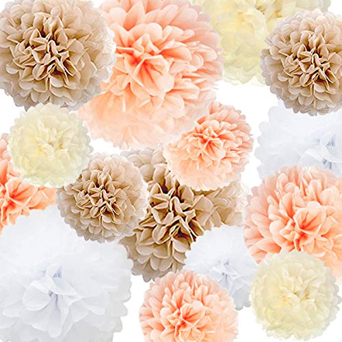 Tissue Paper Pom Poms Paper Flower 22 Pcs Champagne, Peach, Ivory, White for Birthday Bachelorette Wedding Baby Shower Bridal Shower Party Decoration