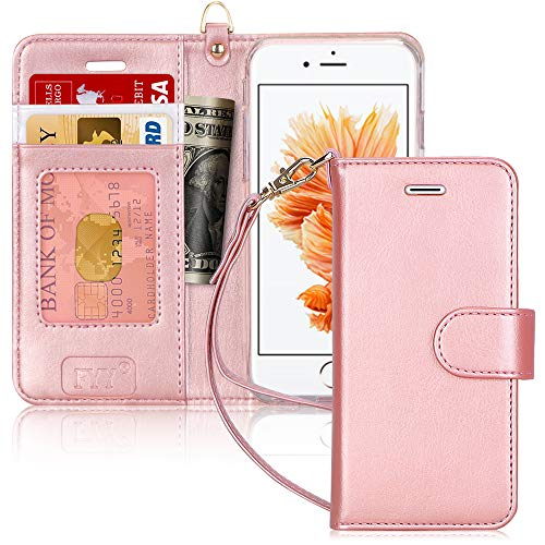 "FYY Custodia iPhone 6S, Cover iPhone 6, Flip Custodia Portafoglio Libro Pelle PU con Porta Carte e Chiusura Magnetica per iPhone 6/6S 4.7""- Rosa Oro"