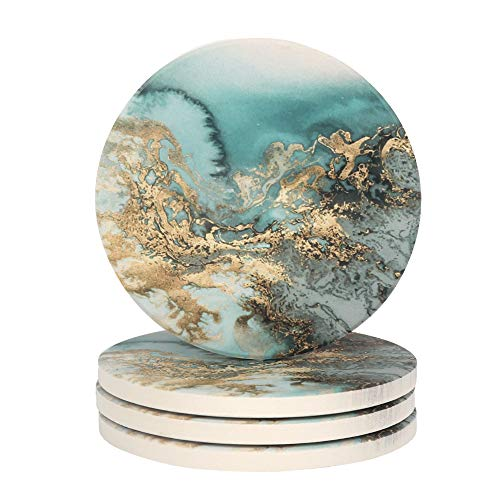Lahome Marble Pattern Coasters - Round Drinks Absorbent Stone Coaster Set with Ceramic Stone and Cork Base for Kinds of Mugs and Cups (Blue, Set of 4)