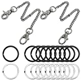 <span class='highlight'><span class='highlight'>SENHAI</span></span> 2 Pcs Heavy Duty Pocket Keychain 11.5 Inch with Swivel Lobster Clasp and 20 Pcs Flat Key Chain Rings, Metal Keyrings Wallet Chain for Jeans Pants Belt Loop