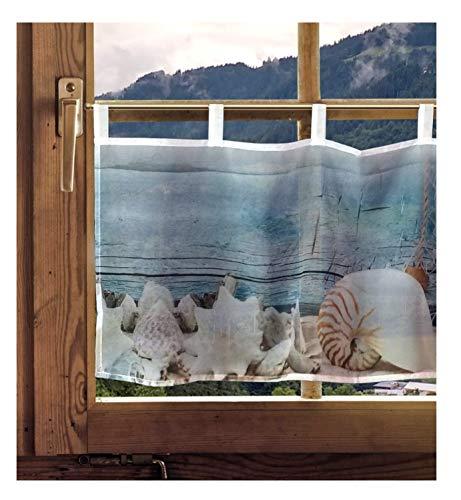 Kurzgardine Ozean Maritime Schlaufengardine Badgardine mit Seestern Muschel 45 x 120 cm